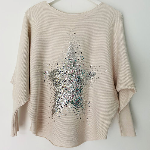Ivory sequin star top