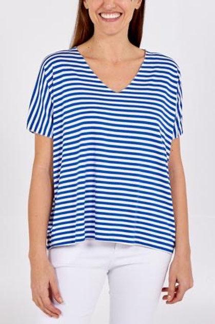 Cobalt Blue V-Neck Stripe Top