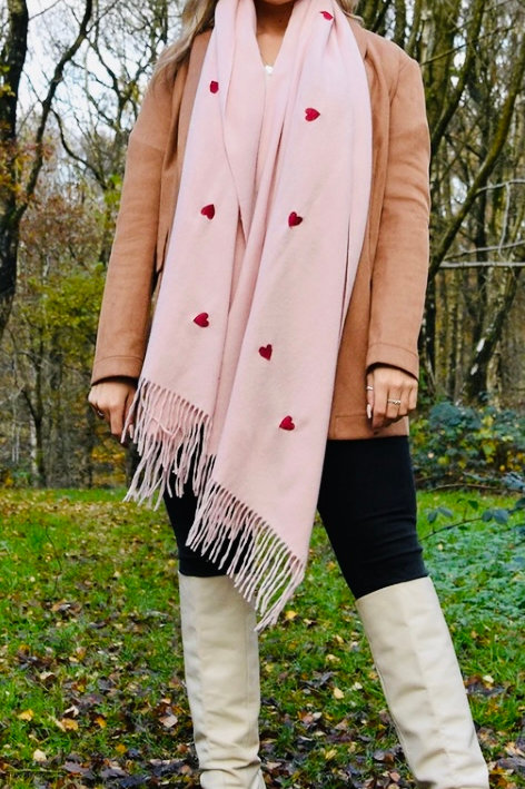 Pink luxury heart scarf
