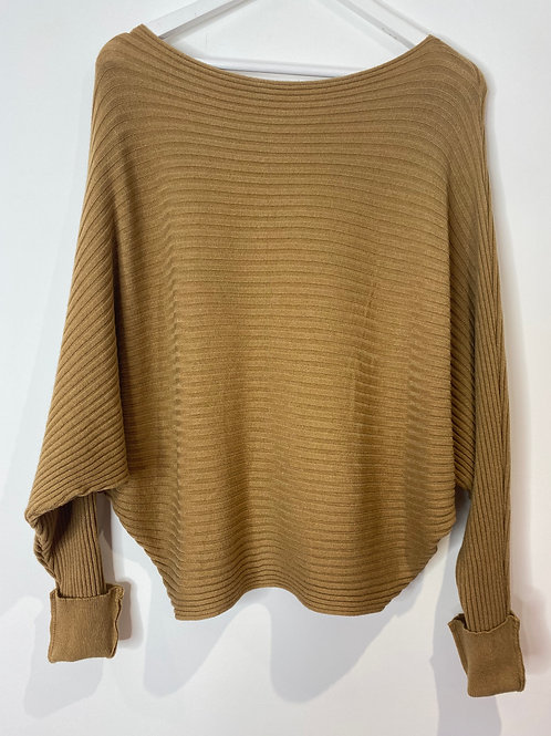 Camel ribbed top