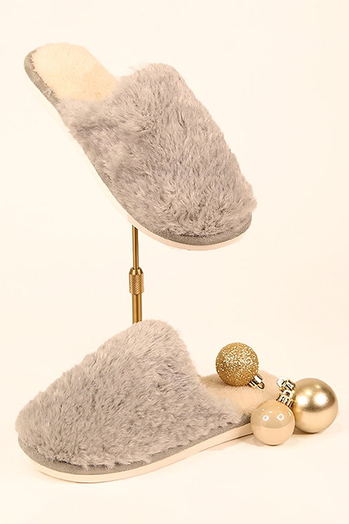 Grey faux fur slippers