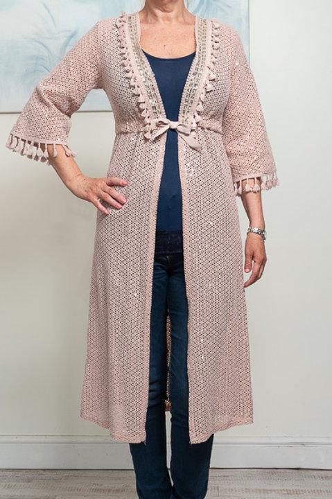 Blush lace kimono