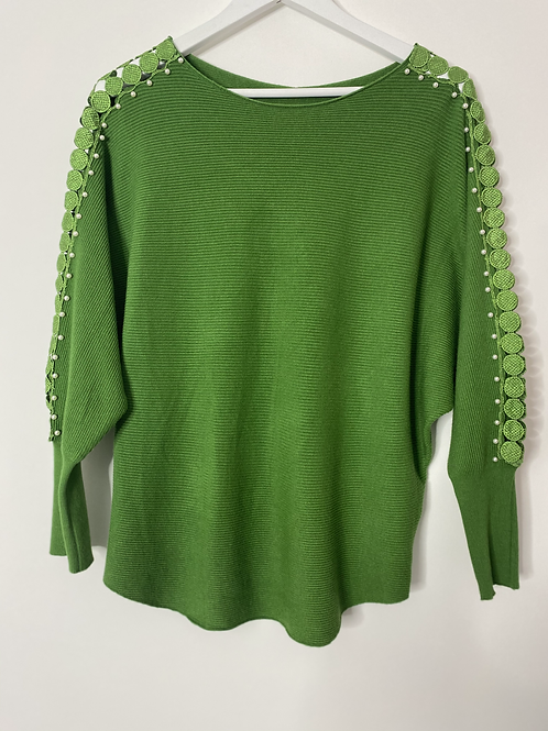 Green embroidered sleeve top