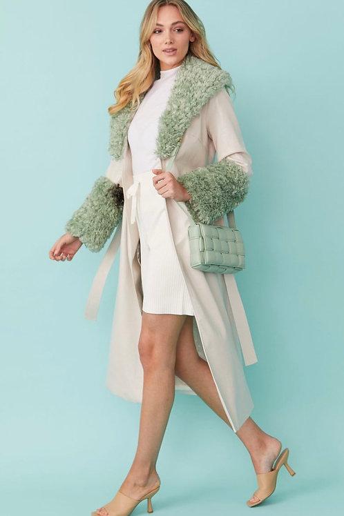 Cream/jade faux suede coat