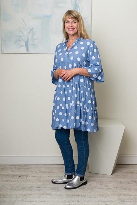 Denim blue spotty smock dress