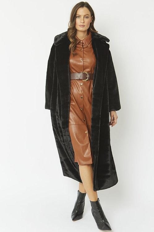 Black maxi faux fur coat