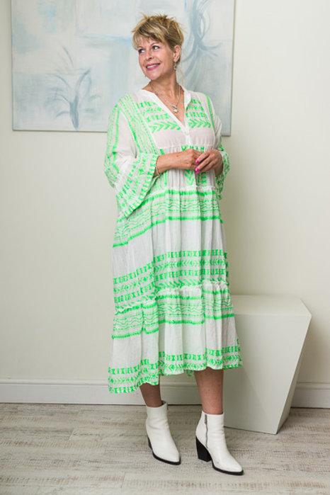 Green aztec jacquard dress