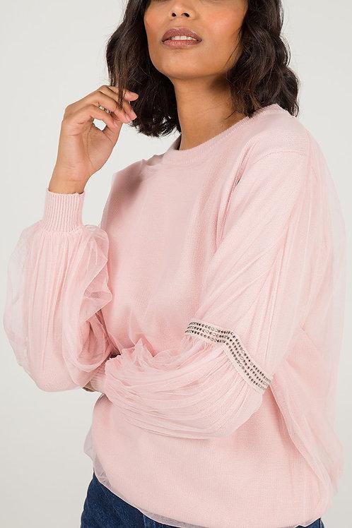 Pink diamonte mesh top