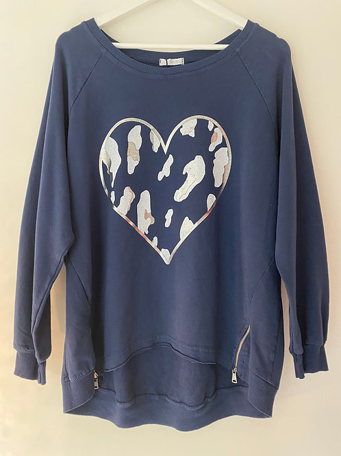 Navy leopard heart top