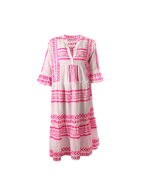 Pink aztec jacquired dress