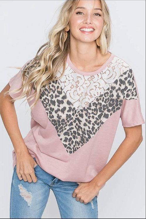 Pink leopard v-top