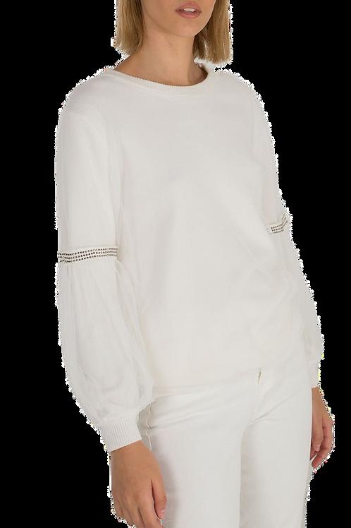 White diamante mesh top