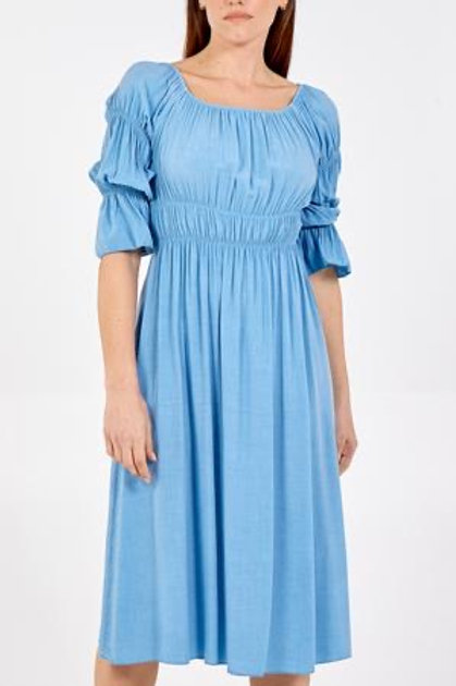 Blue Rouched Long Dress