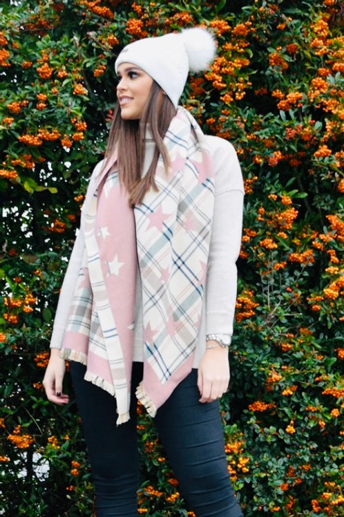 Pink luxury star/check scarf