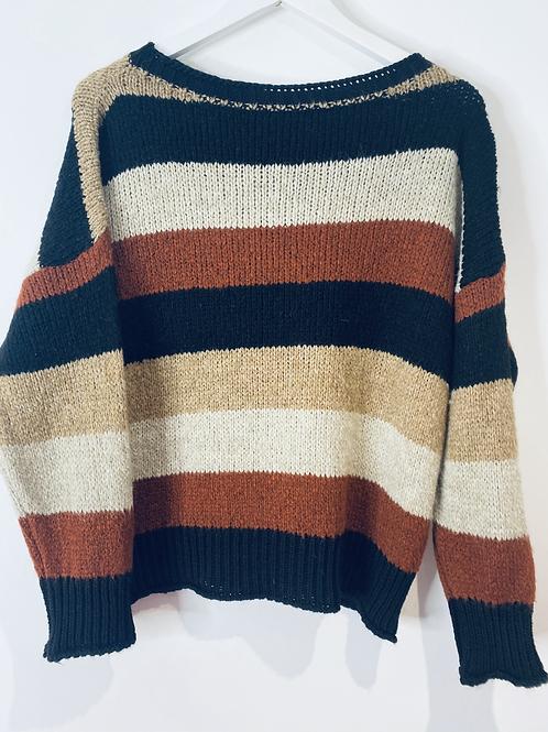 Brown/black/stone stripe top