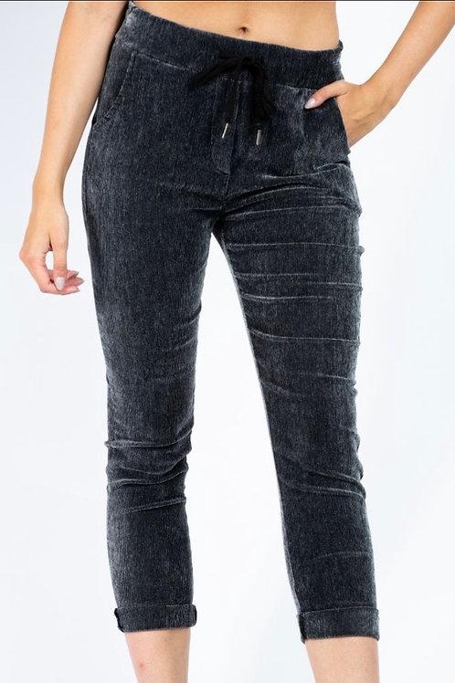 Charcoal fine cord magic trousers