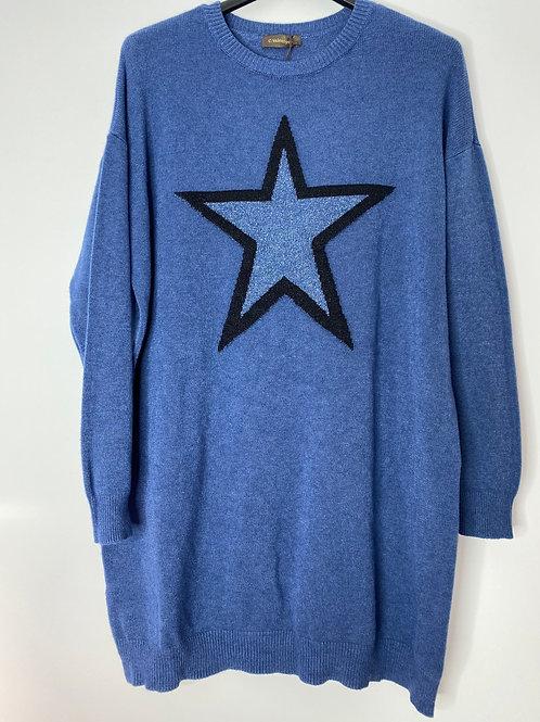 Denim blue star jumper dress