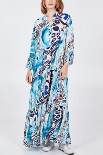 Turqouise abstract maxi dress