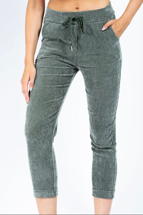 Khaki cord magic trousers