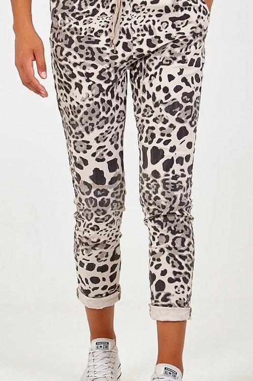 Ivory leopard magic trousers