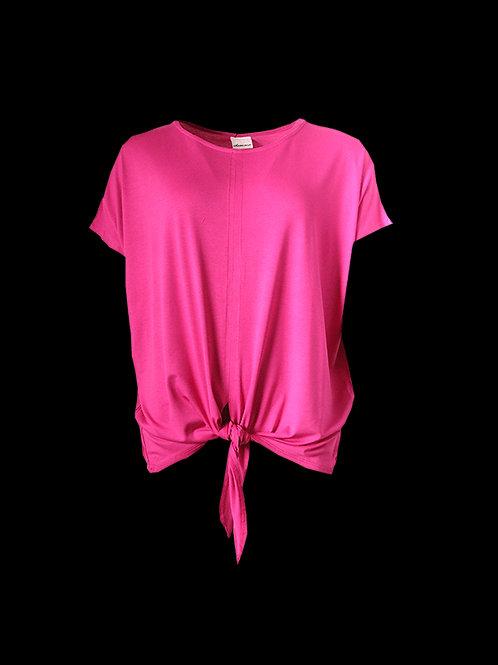 Hot Pink Tie Front Top