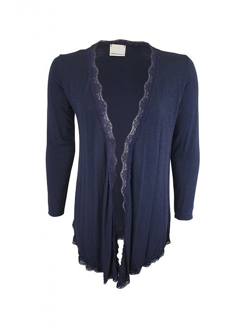 Navy lace trim cardigan