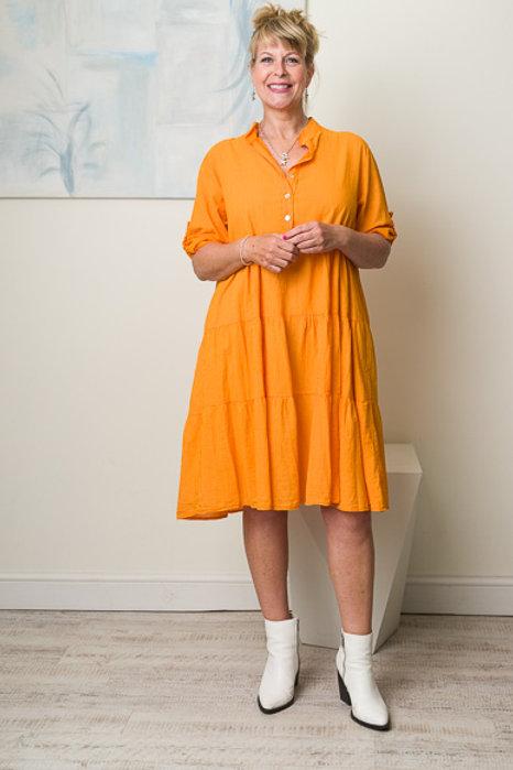Orange midi smock dress