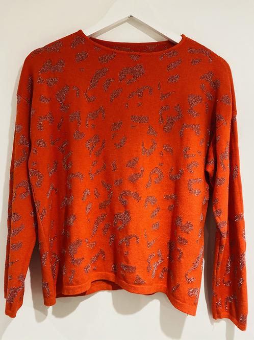 Orange glitter leopard top