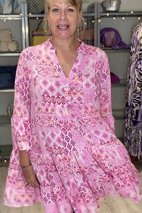Pink Aztec tier dress