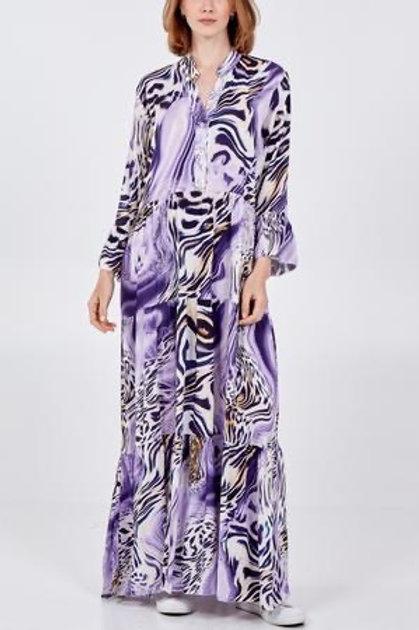 Purple abstract maxi dress