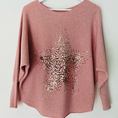 Pink sequin star top