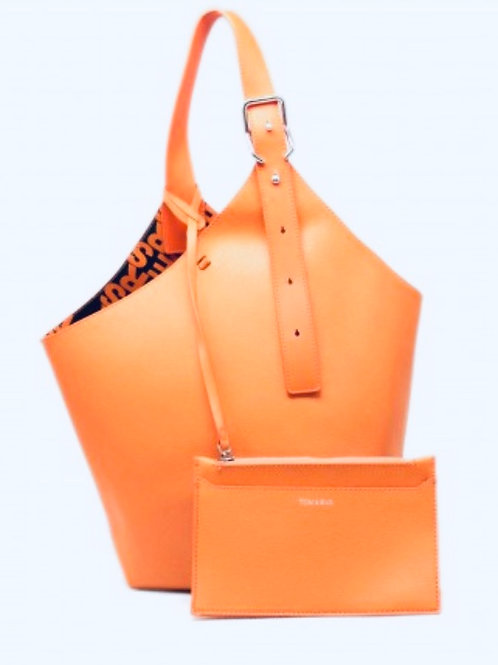 Orange bucket bag