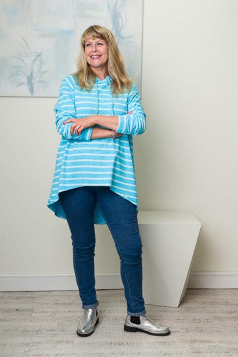 Turquoise stripe top