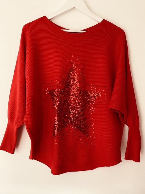 Red sequin star top