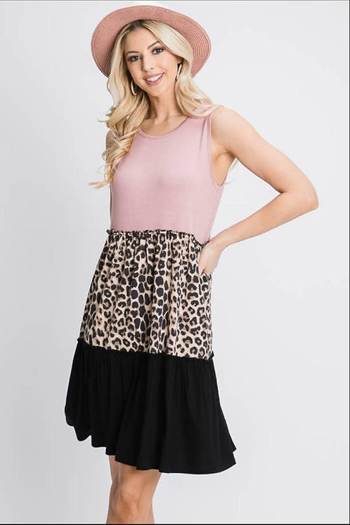 Dusty pink and animal print dress