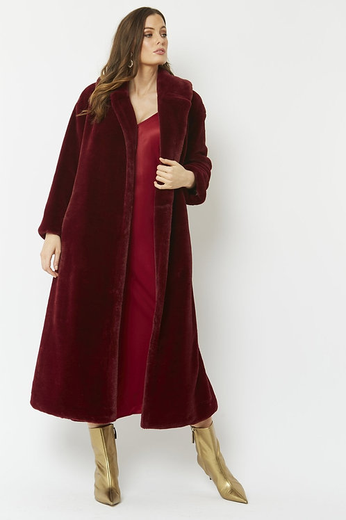 Red maxi faux fur coat