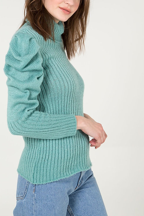 Puff sleeve roll neck jumper