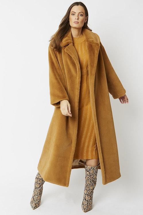 Russet maxi faux fur coat