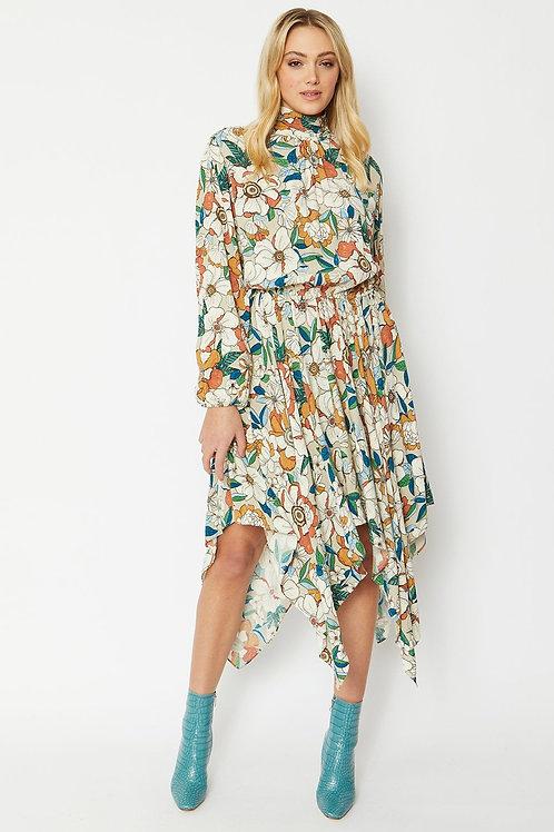 Silk Blend Charlotte Maxi Dress with Hanky Hem
