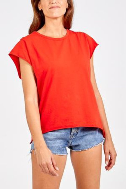 Red Cap Sleeve Rolled Edge Top