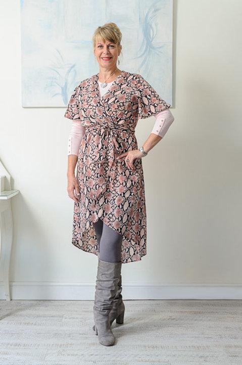 Pink/grey snake print dress