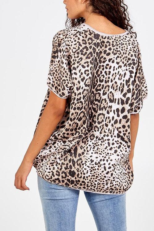 Pink leopard print silky top