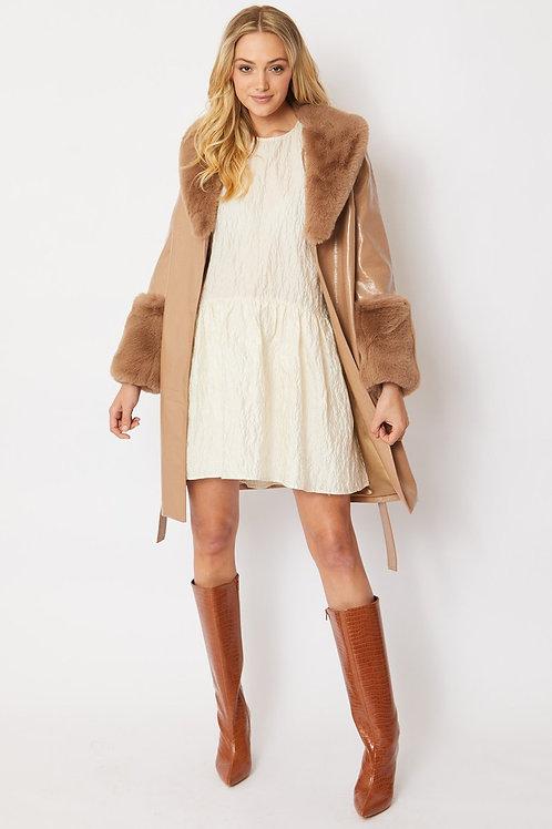 Mocha faux suede coat