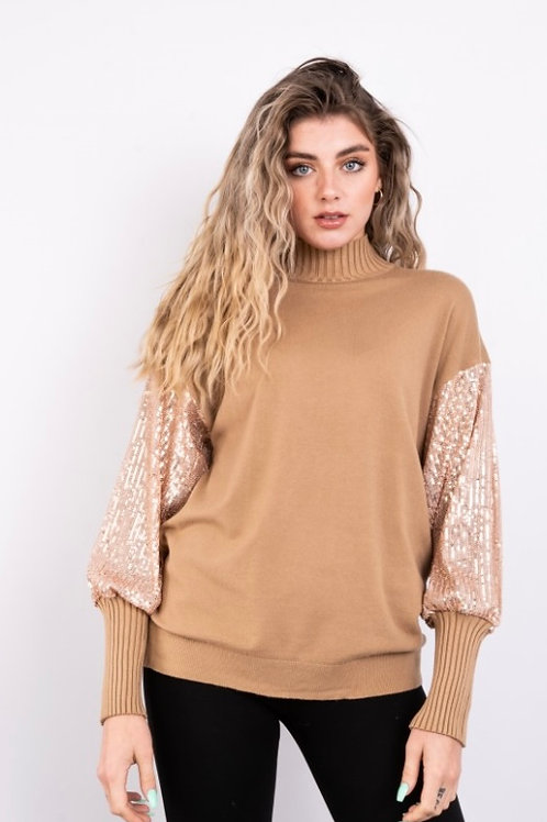 Camel sequin sleeve top