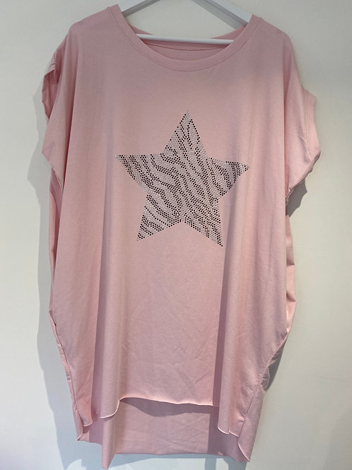 Pink studded star pocket top