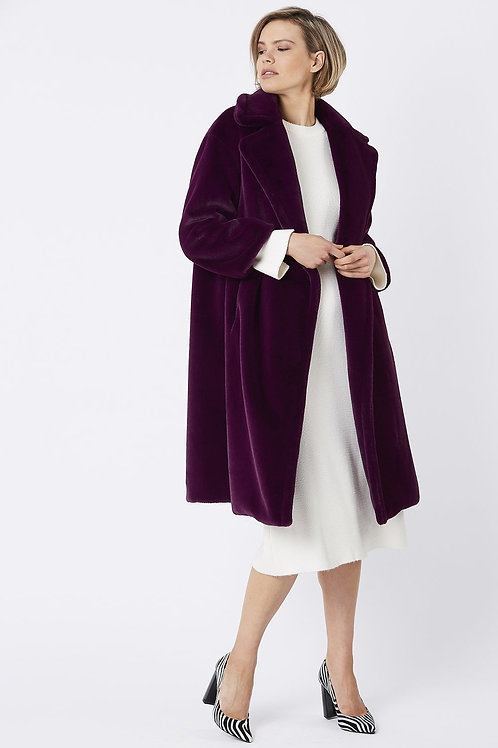 Purple midi faux fur coat