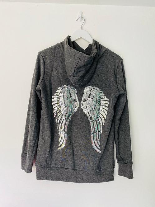 Grey angel wing hoodie