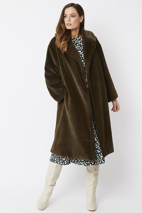Forest green midi faux fur coat