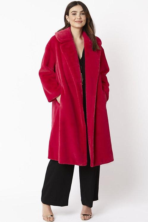 Cerise pink midi faux fur coat