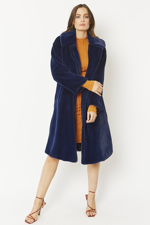 Navy midi faux fur coat